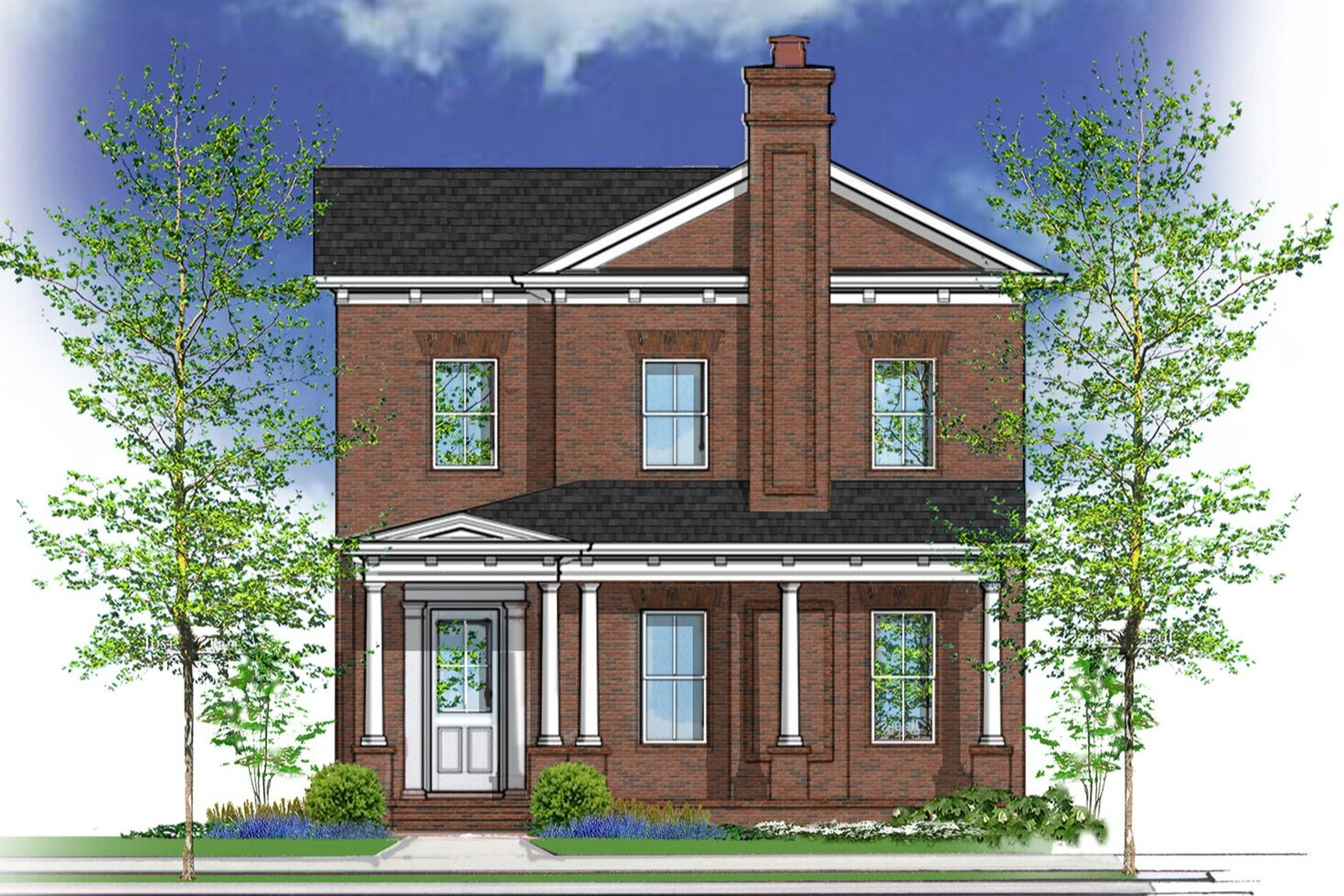 drawing of brick house