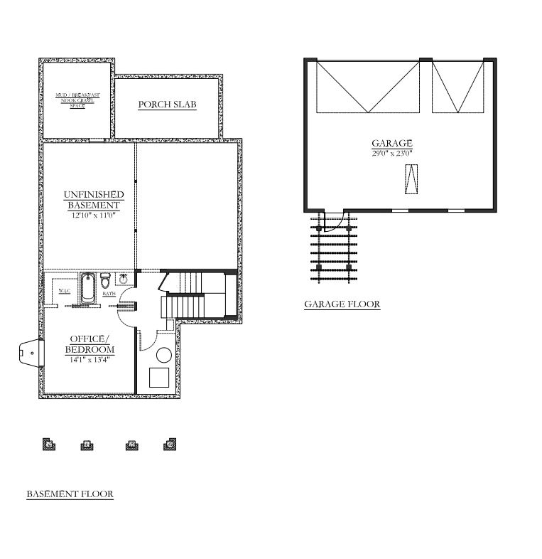 Bradford Basement & Garage Floor Plans